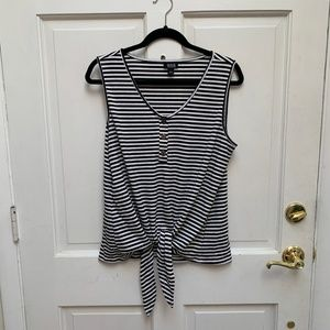 NWOT ana Striped Sleeveless Tie Top